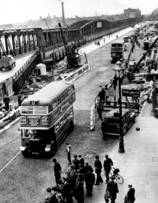 Waterloo Bridge was partially opened in 1942 (this image) after the build started in 1938 (image above and left).